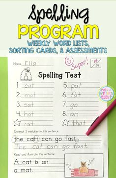 1st Grade Spelling Assessments and Word Lists EDITABLE {year long bundle} Here is everything you need to get a successful spelling program running in your classroom TODAY! Included are weekly spelling word lists, word sorting cards, and spelling tests. For over 10 years, I have used this complete spelling program for grade 1 but it could easily be used to enrich Kindergarten students or as an intervention with 2nd graders.