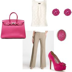 Pink Office, created by yateskay.polyvore...  I wish i didn't have to be on my feet all day so that i could wear cute shoes.