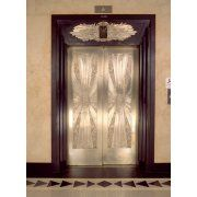 Nickel metalwork art deco elevator doors Two North Riverside Plaza 400 West Madison Street Chicago Illinois USA Canvas Art - Panoramic Images (24 x 18)