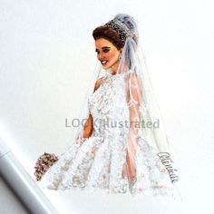 "Bridal custom fashion illustration by ""LOOKillustrated"", wedding gift, wedding dress, bride, wedding illustration, bridesmaid, anniversary"