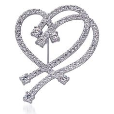 $44.99 An exquisite celeb inspired interlocked floating hearts brooch is crafted from Rhodium Plated .925 Sterling Silver Rhodium Finish and studded with prong set White Cubic Zirconia. The elegant rendition of flowing sparkling beauty will immortalize your artistic style. This gorgeous brooch will perfectly accessorize your scarves, coats and jackets with a Touch of Class. The straight hinged pin with a secure swivel clasp is easy to wear...