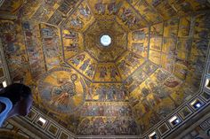 the wonderful Baptistry mosaic ceiling, Florence, Italy. took 100 years to complete. once again, a MOSIC ceiling.....!