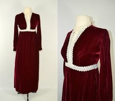 1970s Cranberry Red Velvet Dress / by KrisVintageClothing on Etsy, $65.00