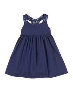 Z1D8W Ralph Lauren Childrenswear Lace-Trim Jersey Dress, Cruise Navy, Size 2-6X
