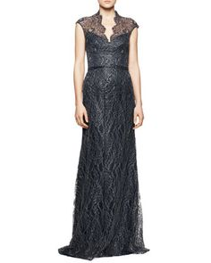 Cap-Sleeve Lace Overlay Gown, Midnight by Theia by Don O\'Neill at Neiman Marcus.
