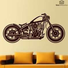 Vinilo decorativo con el perfil de la diosa del asfalto, la Harley Davidson…