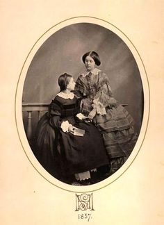 Little princess Marie of Hohenzollern-Sigmaringen (later duchess of Flanders) with eldest sister, Princess Stephanie, later queen of Portugal. Portuguese Royal Family, German Royal Family, Princess Stephanie, Daguerreotype, Royal Families, Bavaria, Little Princess, Brazil, Queens