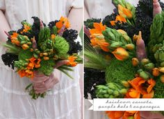 veggie bouquet (from Green Wedding Shoes) Wedding Ceremony Flowers, Wedding Bouquets, Fall Wedding Centerpieces, Wedding Decorations, Boutonnieres, Vegetable Bouquet, Edible Bouquets, Green Bouquets, Flower Bouquets