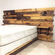 Rustic Headboard Reclaimed Headboard Queen Headboard by CECustoms - Before After DIY Rustic Wood Headboard, Wood Pallet Beds, Wood Pallets, Diy Wood Bed Frame, Rustic Bedding, Bed Frames, Pallet Furniture, Headboard With Lights, Bed With Lights