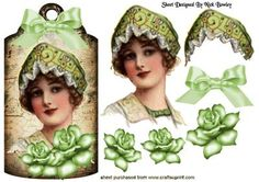 VINTAGE LADY ON VINTAGE TAG WITH ROSES on Craftsuprint - Add To Basket!