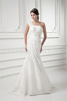 Church Mermaid/ Trumpet One-shoulder Brush/ Sweep Train Wedding Dresses