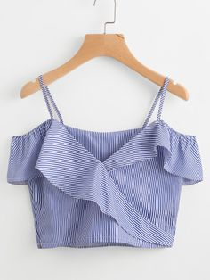 SheIn offers Cold Shoulder Pinstripe Frill Trim Top & more to fit your fashionable needs. Crop Top Outfits, Cute Casual Outfits, Summer Outfits, Summer Dresses, Teen Fashion Outfits, Girl Fashion, Womens Fashion, Mode Top, Looks Style