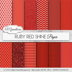 Red digital paper RUBY RED SHINE ruby red papers by Artfanaticus  My backgrounds, textures, digital paper and clip art can be used for just about any project. Add some additional artistic style to your photo albums, photography projects, photographs, scrap booking, weddings, invitations, greeting cards, gift wrap, labels, stickers, tags, signs, business cards, websites, blogs, parties, events, jewelry & more.  For more digital papers, please visit Artfanaticus at…