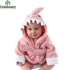 edcc8c9b63 Children s Bathrobes Baby Robe Hooded Cotton Sleepwear Cartoon Cow Lion  Penguin Bathrobes Kids Soft Bath Robes Poncho Towel