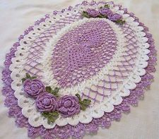 crochet square with rose doily   purple and white crocheted oval centerpiece roses doily by Aeshagirl
