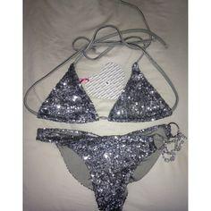 I love this silver sparkly bikini