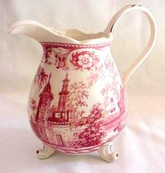 Red Toile Transferware footed pitcher with giraffes and elephants Vintage Dishes, Vintage China, Red And Pink, Red And White, White Dishes, China Patterns, Tea Set, Pottery, Dinnerware
