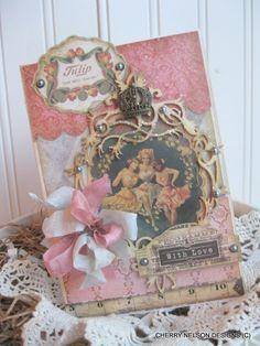 vintage VICTORIAN LADIES card- WITH love  crown card- handmade card