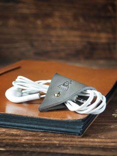 Leather Cord Holder #Gray  by ES Corner www.es-corner.com