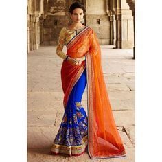 Orange With Blue Georgette And Net Saree With Art Silk Blouse
