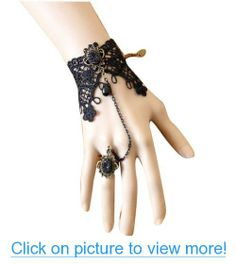 Vktech Retro Vintage Vampire Accessories Wedding Decorations Classic Royal Court Palace Gothic Style Punk Rock Women Lady Girls Lace Chain Wristband Bracelet With Finger Ring And Jewel Jewelry Halloween Decoratioins Present For Costume Ball Fancy Ball Masquerade - Black #Vktech #Retro #Vintage #Vampire #Accessories #Wedding #Decorations #Classic #Royal #Court #Palace #Gothic #Style #Punk #Rock #Women #Lady #Girls #Lace #Chain #Wristband #Bracelet #Finger #Ring #Jewel #Jewelry #Halloween…