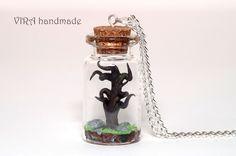 Old tree in a glass jar necklace by virahandmade on DeviantArt Bottle Charms, Bottle Art, Mini Glass Bottles, Glass Jars, Terrarium Necklace, Polymer Clay Miniatures, Bottle Sizes, Salt Dough, Rapunzel
