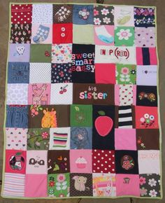 Quilt made from baby clothes!.