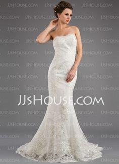 Wedding Dresses - $196.99 - Mermaid Strapless Sweep Train Satin Tulle Wedding Dress With Lace Beadwork (002035873) http://jjshouse.com/Mermaid-Strapless-Sweep-Train-Satin-Tulle-Wedding-Dress-With-Lace-Beadwork-002035873-g35873