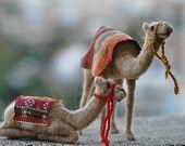#Needle felted-Nativity Set-Nativity-Waldorf--Waldorf -sitting Camel-  doll- #wool soft sculpture-#needle felt by Daria Lvovsky -via Etsy.