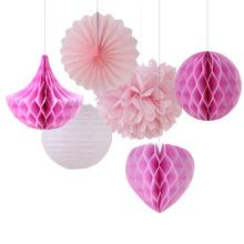 Pink Shade 6pcs Mix and Match Paper Decoration Set ( Honeycomb Ball/Heart/Drop/Pinwheel/Pom Pom) for Birthday Showers Wedding(China (Mainland))