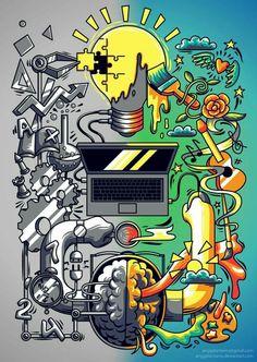 How an idea is created by anggatantama on DeviantArt Graffiti Wallpaper, Cartoon Wallpaper, Cool Wallpaper, Doodle Art Drawing, Art Drawings, Vexx Art, Plakat Design, Dope Wallpapers, Dope Art