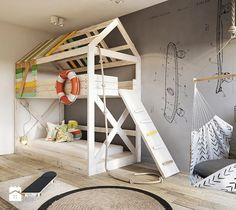 Bielsko - White - average child's room for a boy for a toddler sibling - Razoo-image of architects Baby Playroom, Home Building Design, House Beds, Kids Room Design, Kid Spaces, Traditional House, Kids Bedroom, Room Inspiration, Room Decor