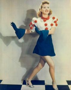 1940's....Betty Grable in red, white and bluelllove the necklace...