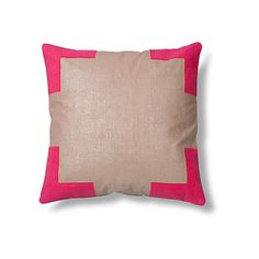 Tracy 24x24 Linen Pillow Pink Decorative Pillows ($286) ❤ liked on Polyvore featuring home, home decor, throw pillows, pink, pink toss pillows, linen throw pillows, pink home decor, pink throw pillows and metallic throw pillows