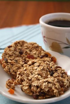 Vegan Breakfast Cookies  2 mashed bananas  1/3 cup unsweetened applesauce (one of those individual sized serving cups)  1/4 teaspoon each of cinnamon and nutmeg  grated fresh orange rind (to taste)  2 cups rolled oats  1/3 cup mix of golden and regular raisins  1/3 cup walnuts  1 teaspoon vanilla