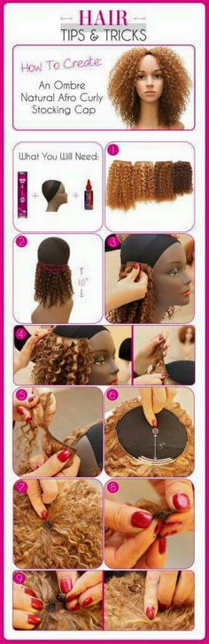 How to Create An Ombre Natural Afro Curly Stocking Cap. Long bohemian wig
