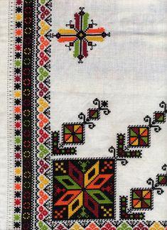 Embroidery of Zastawna county, Cherniwtsi oblast, Bukovyna, Ukraine Folk Embroidery, Embroidery Patterns Free, Embroidery Needles, Cross Stitch Embroidery, Embroidery Designs, Cross Stitch Borders, Cross Stitching, Cross Stitch Patterns, Coin Couture