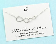 Mom Gift . Silver infinity Necklace . Mother and Son Necklace . Mommy Jewelry . Sterling Silver . New Mom & Son . Infinite Love . Meaningful by ACharmedImpression on Etsy https://www.etsy.com/listing/482101662/mom-gift-silver-infinity-necklace-mother