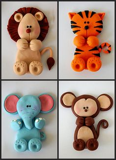 Cute fondant animals. Would be cute on a cake for a baby shower!! Monkey will definitely be on my first babys cake!