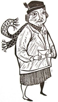 """Woman with Envelope"" by Emily Sutton (linocut)"