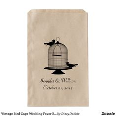 Stylish craft paper favor bag with a black silhouette of a vintage birdcage and two birds. Personalize the text for your wedding event. Great for candy and sweets bars and other favors. Candy Bar Wedding, Wedding Favor Bags, Vintage Birds, Vintage Birdcage, Personalized Candy Bars, Bridal Shower Favors, Top Gifts, Bird Cage, Wedding Events