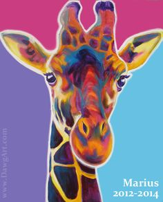 Original giraffe painting for sale! Celebrate the life of sweet Marius the giraffe. One-of-a-kind, by DawgArt. https://www.etsy.com/listing/181638821/original-colorful-giraffe-art-painting
