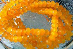 Full Strand Marigold Yellow 8x5MM Faceted Jade Gemstone Beads