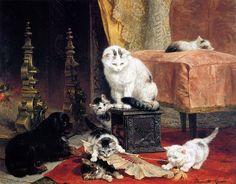 chatons jouant avec un soleil de ventilateur de Henriette Ronner Knip (1821-1909, Netherlands)