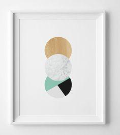 Mint geometric print,digital print, geometric poster, geometric art, printable wall art, Scandinavian print, digital art, Scandinavian art  You