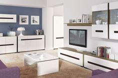 Obývacia izba Azteca od Black Red White #biela #obyvacka #nabytok #blackredwhite