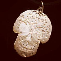 Mexican skull with mex inside #handmadejewelry #creativedesign #design by La Tela di Aracne