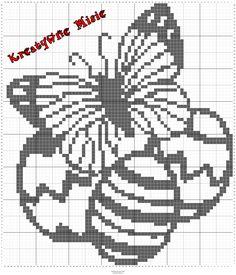 #häkeln vorlagen ostern Butterfly Cross Stitch, Cross Stitch Flowers, Cross Stitch Patterns, Filet Crochet Charts, Fillet Crochet, Christmas Crochet Patterns, Easter Crochet, Simple Cross Stitch, Crochet Clothes