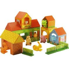 Djeco / Zanimoferme 22-Piece Farm Playset by Djeco. $35.66. For ages 3 years and older. The set features eight PVC-free vinyl animals in uniquely different shapes and colors. Ten sturdy paperboard farm building blocks and four flower-covered fence segments included. Colorful and sized perfectly for little hands, this set will inspire fun, imaginative play. Zanimoferme is an animal farm playset like no other. This farm is like no other - how colorful and fun it is! 22 pieces...