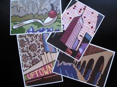 The Minneapolis Collection - 5 x 7 print set Mini Apple, Thing 1, Whimsical Art, Minneapolis, Paper Cutting, Playing Cards, How Are You Feeling, Vibrant, Texture